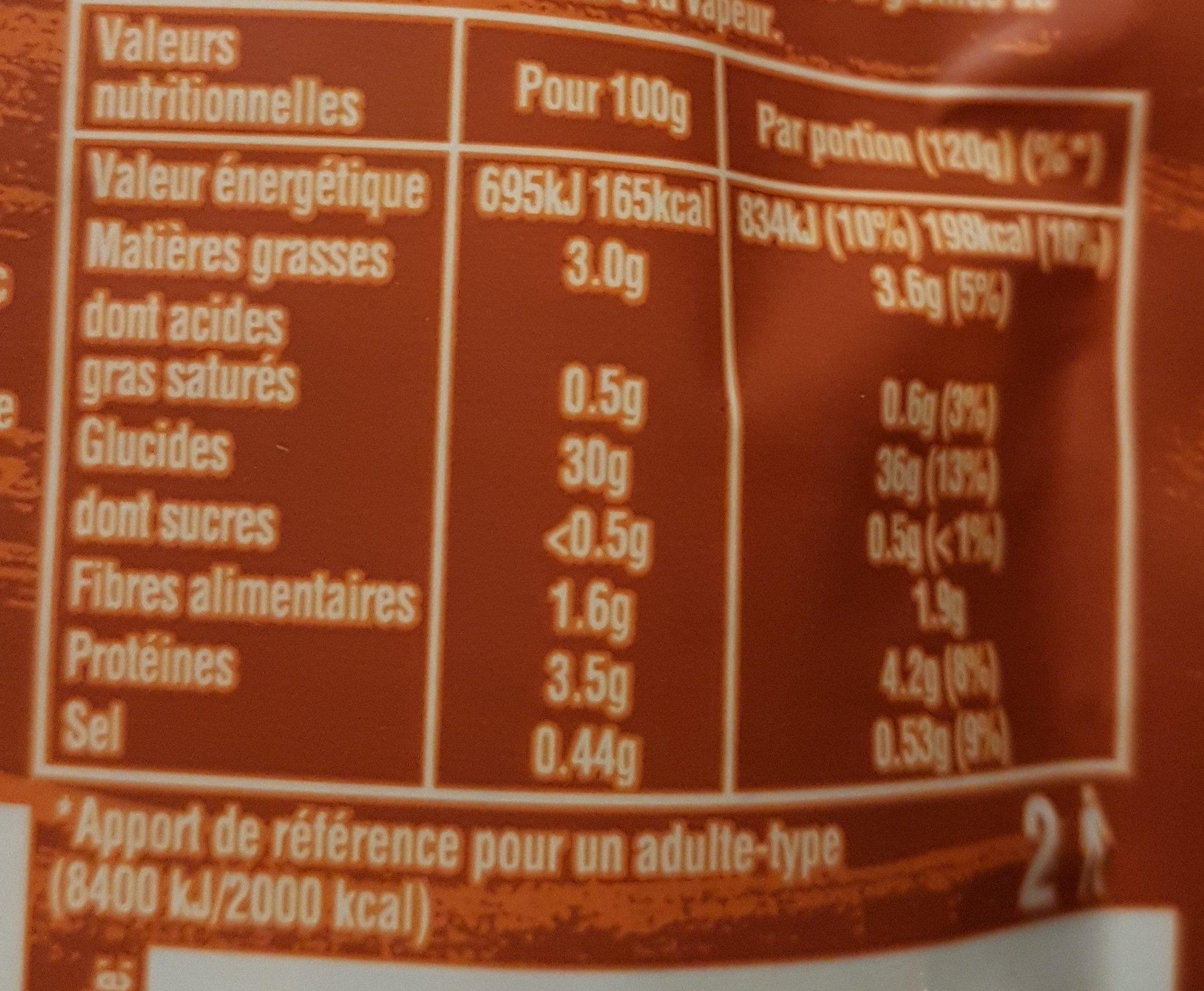 Duo de Riz, Quinoa & Graines de Lin - Informations nutritionnelles