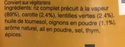 Riz et lentilles aux carottes - Ingrédients