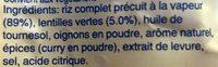 Riz & Lentilles au Curry - Ingrédients - fr