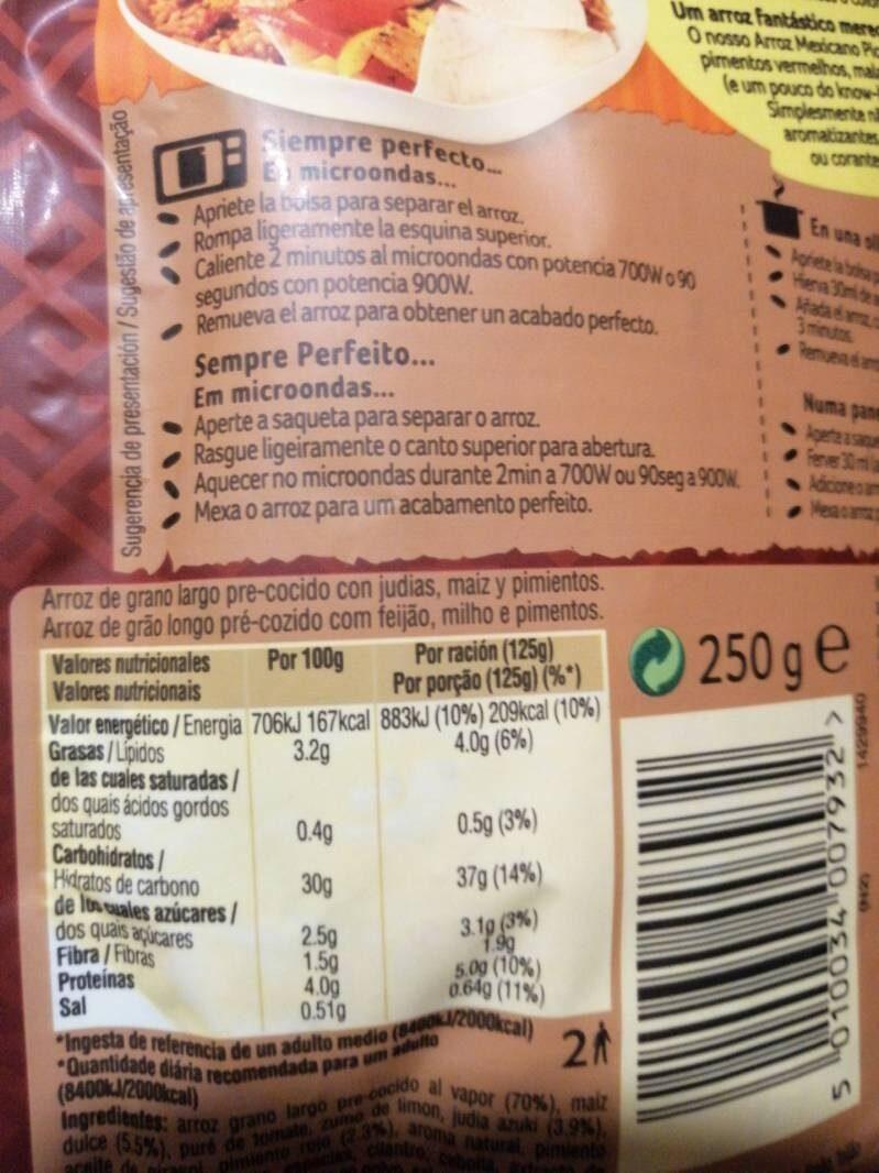 Arroz mexicano picante - Informations nutritionnelles - es