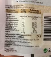 Riz Basmati Express - Informations nutritionnelles - fr