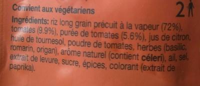 Riz à la méditerranéenne - Riz cuisiné - Ingredients - fr