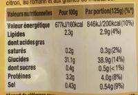 Riz cuisiné citron et romarin - Informations nutritionnelles - fr