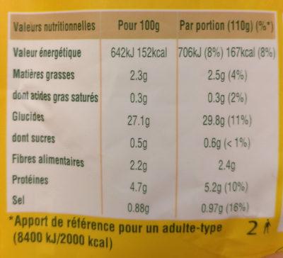 Le Blé Cuisiné Nature à l'Huile d'Olive - Valori nutrizionali - fr
