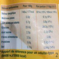 Blé express à la tomate et au basilic - Informations nutritionnelles