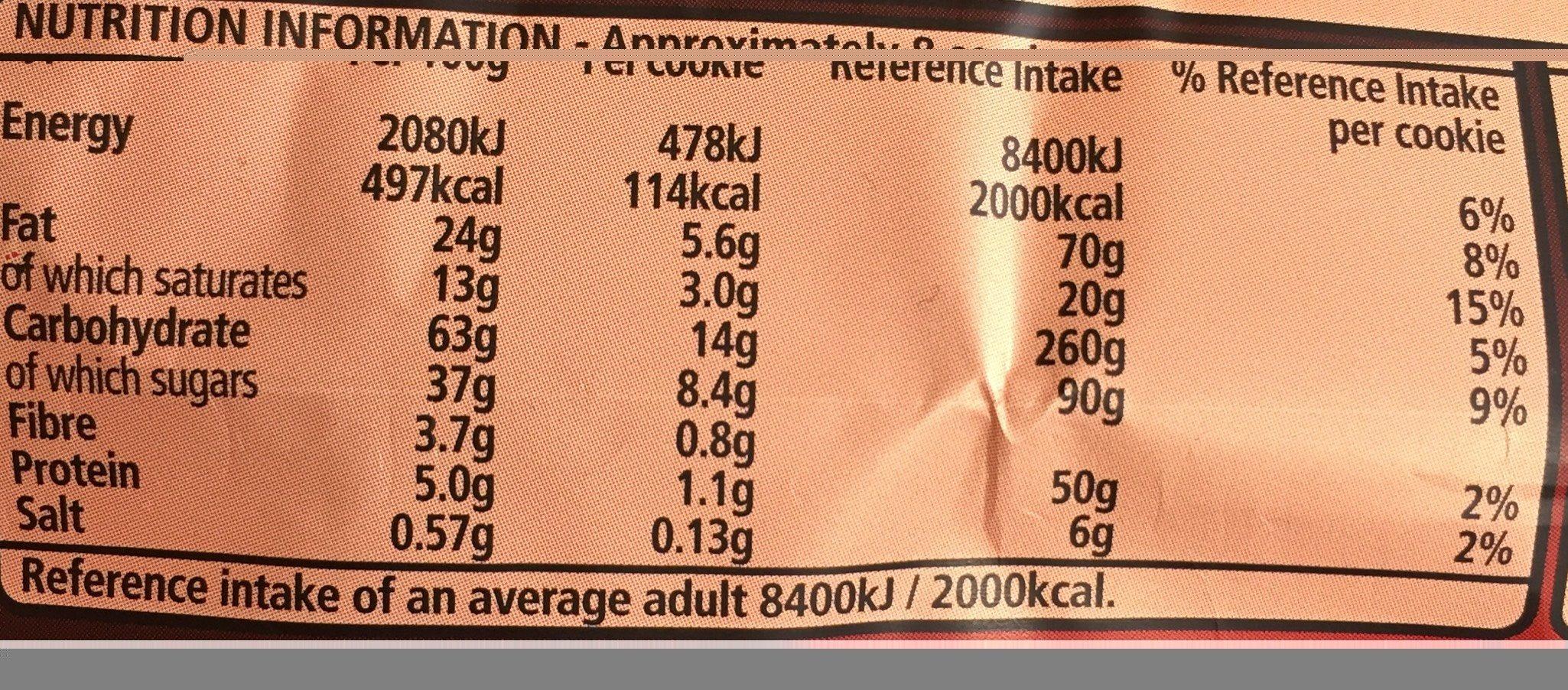 Fox's Dark Choco. Cookies Chunk - Informations nutritionnelles - fr