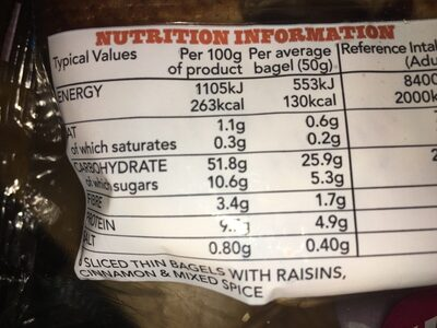 Warburtons Thin bagels Cinnamon and raisin - Nutrition facts - en