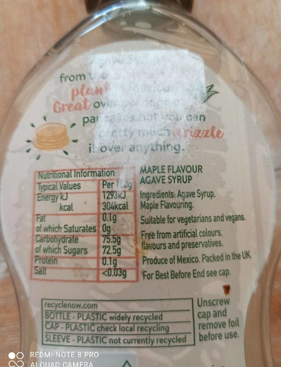Agave syrup - Nutrition facts - en