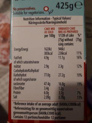 Betty Crocker Devils Food Cake Mix - Nutrition facts