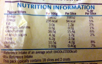 Tasty Wholemeal Bread - Kingsmill - 800G - Nutrition facts