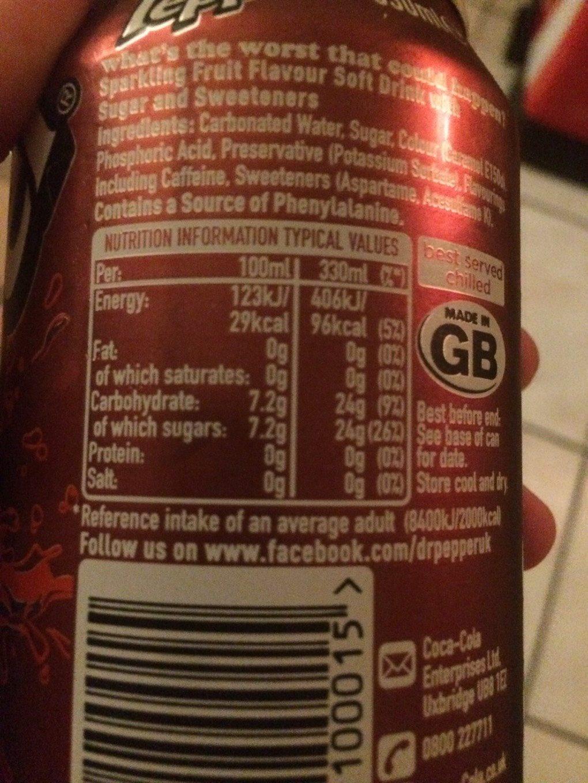 Dr Pepper UK Version - Informations nutritionnelles - fr