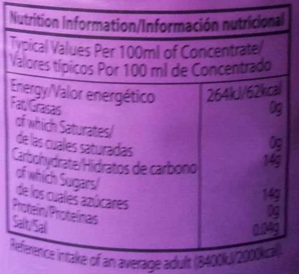 Blackcurrant Flavour Cordial - Informations nutritionnelles - en