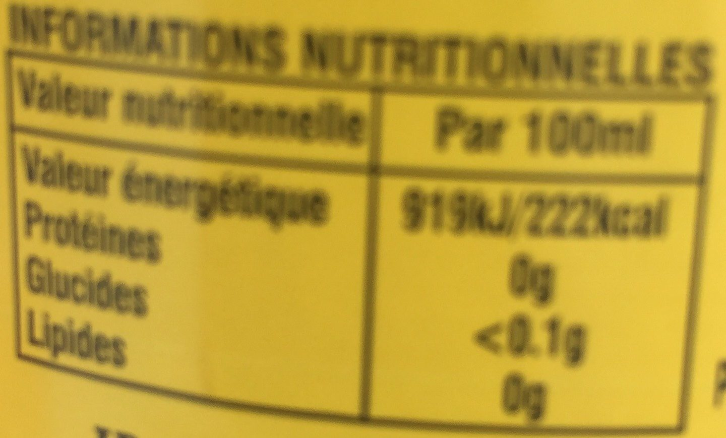 Rare blended scotch whisky - Nutrition facts - fr