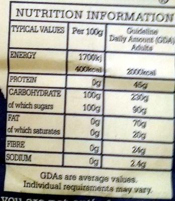 Fair trade cane sugar granulated - Nutrition facts