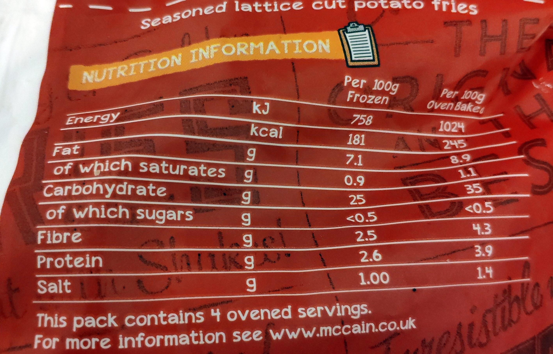 Waffle fries - Informations nutritionnelles - en