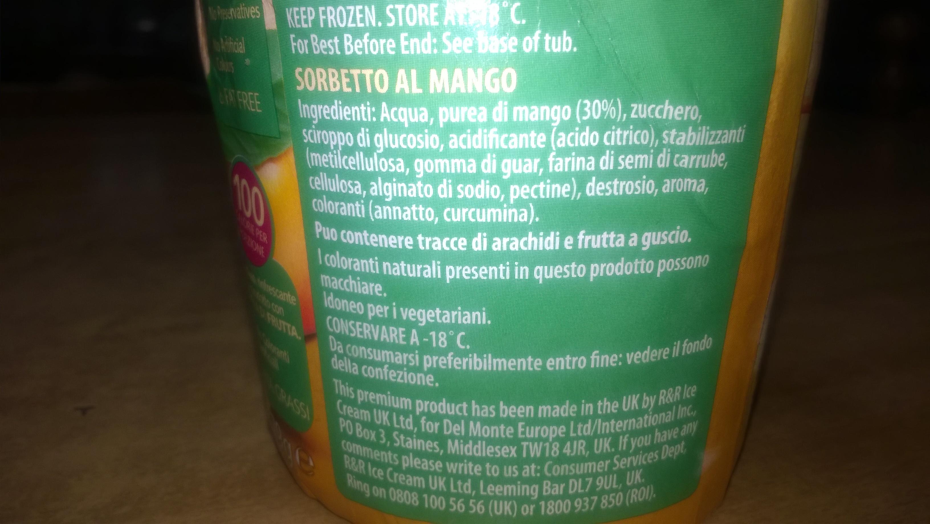 Sorbetto al Mango Smoothie Mango - Prodotto