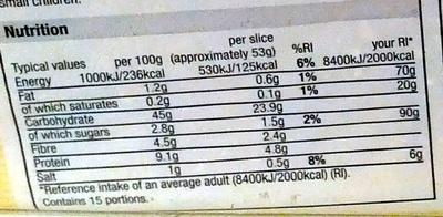 Super Toastie White - Nutrition facts