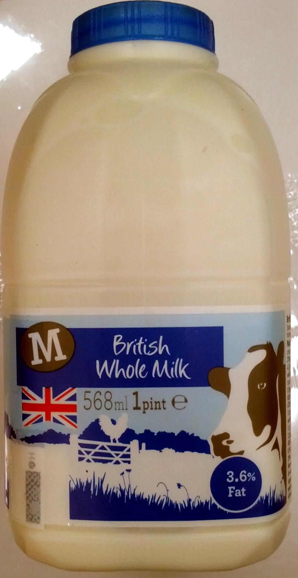 British Whole Milk Morrisons 1 Pint 568 Ml