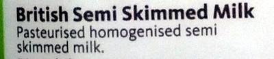 British Semi Skimmed Milk - Ingredients