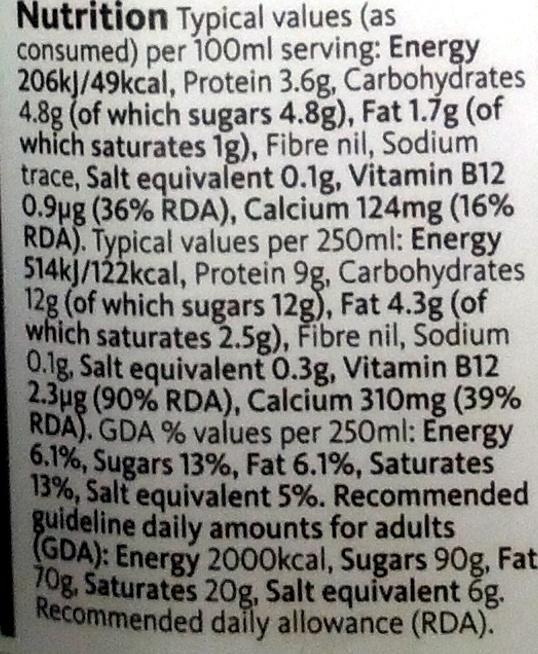 British Semi Skimmed Milk - Nutrition facts