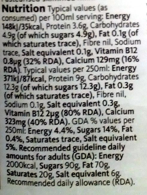 British Skimmed Milk - Nutrition facts