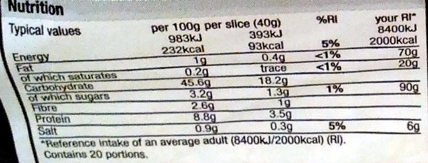 Thick Cut Farmhouse White Loaf - Nutrition facts - en
