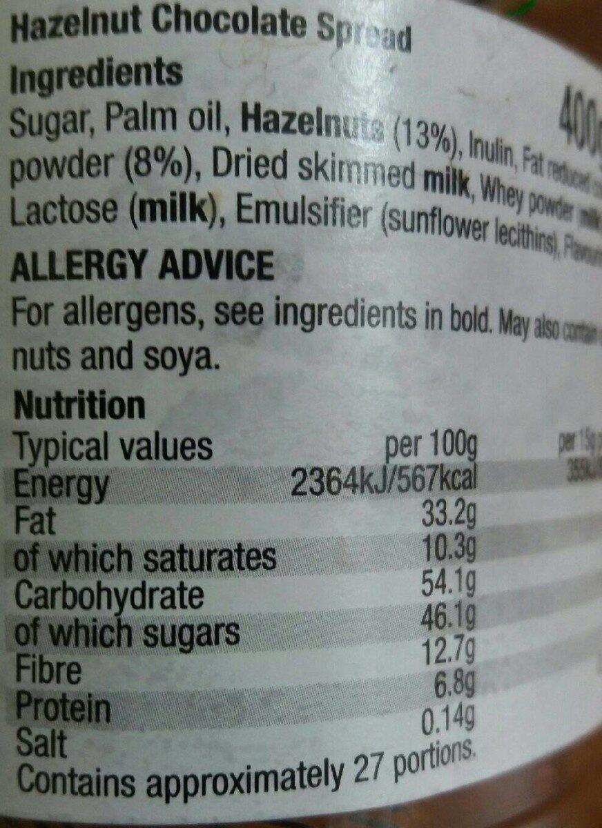 Hazelnut - Chocolate spread - Nutrition facts - en