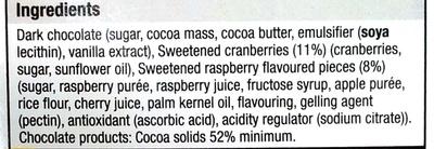 Cranberry & Raspberry Dark Chocolate - Ingredients - en
