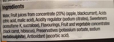 apple&blackcurrant dilute squash - Ingredients - en