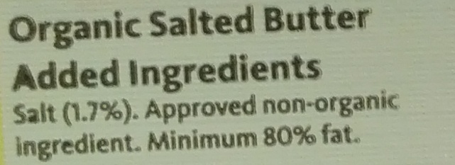Salted Butter - Ingrédients