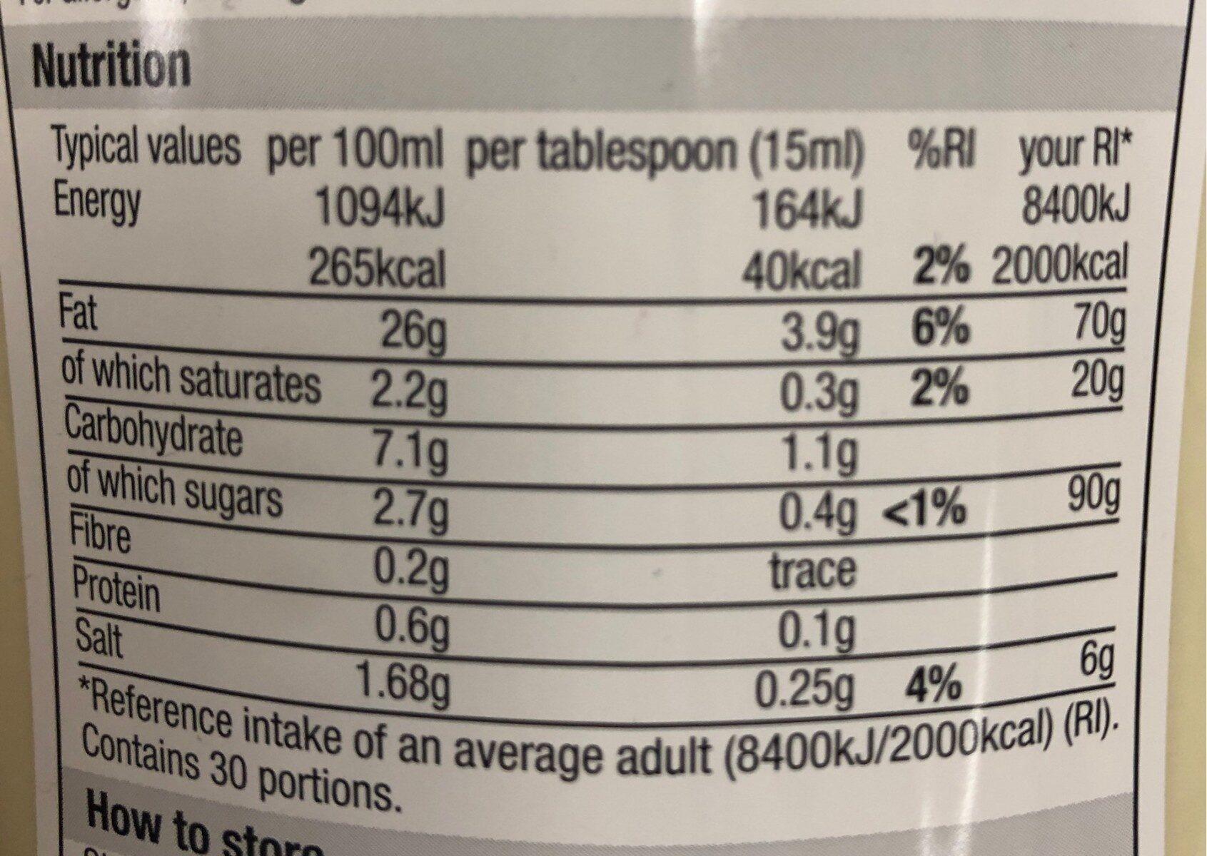 Light mayonnaise - Nutrition facts - en