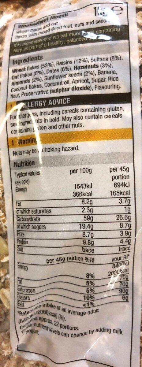 Wholewheat muesli - Valori nutrizionali - en
