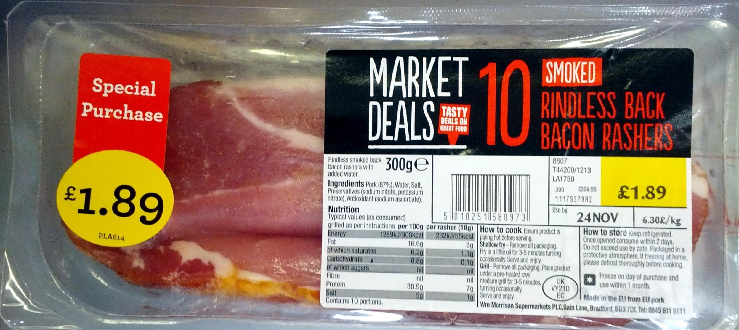 Smoked Rindless Back Bacon Rashers - Product - en