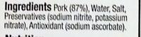 Smoked Rindless Back Bacon Rashers - Ingredients