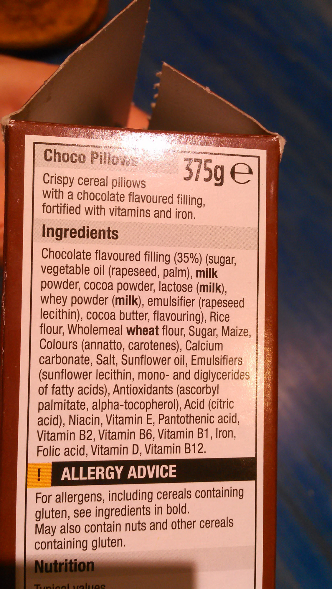 Choco pillows - Ingredients