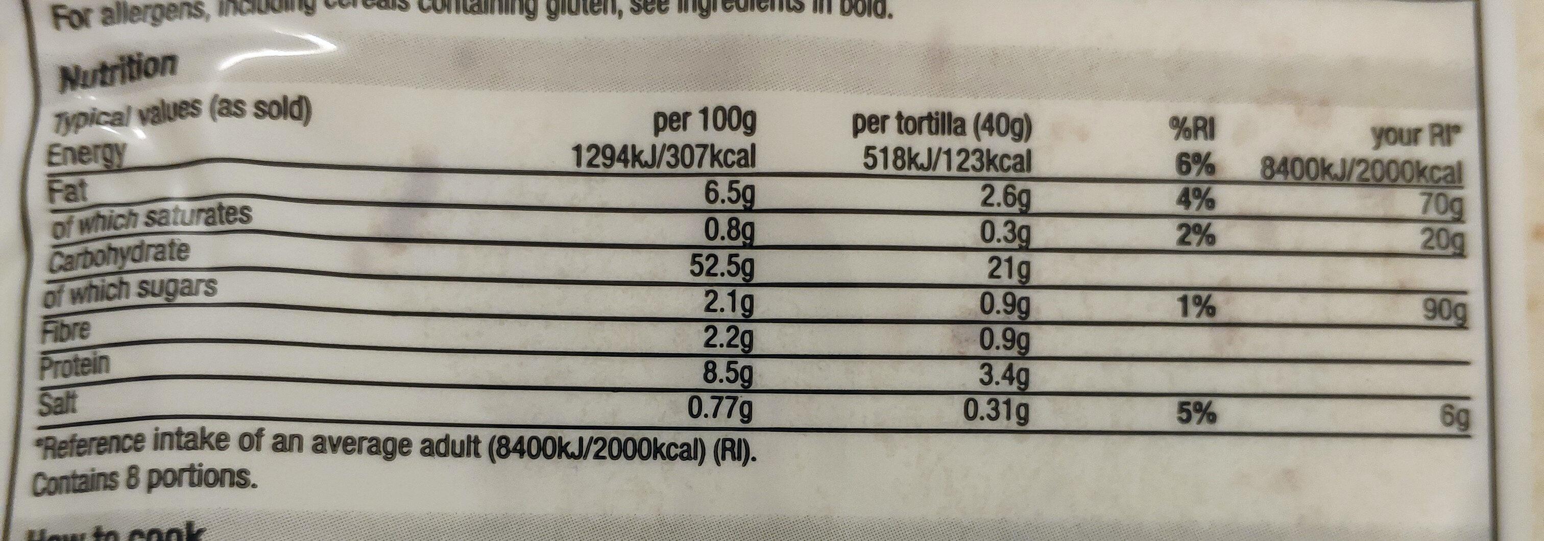 Tortilla Wraps - Valori nutrizionali - en