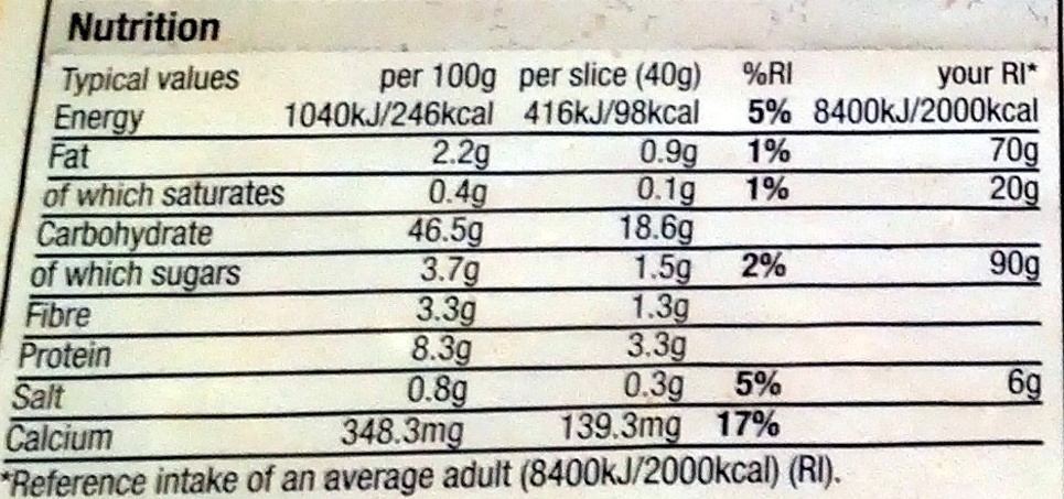 Toastie White With More - Nutrition facts