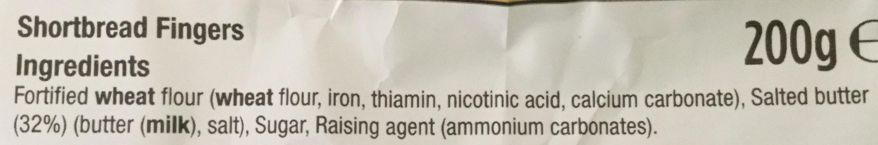 All Butter Shortbread Fingers - Ingredients