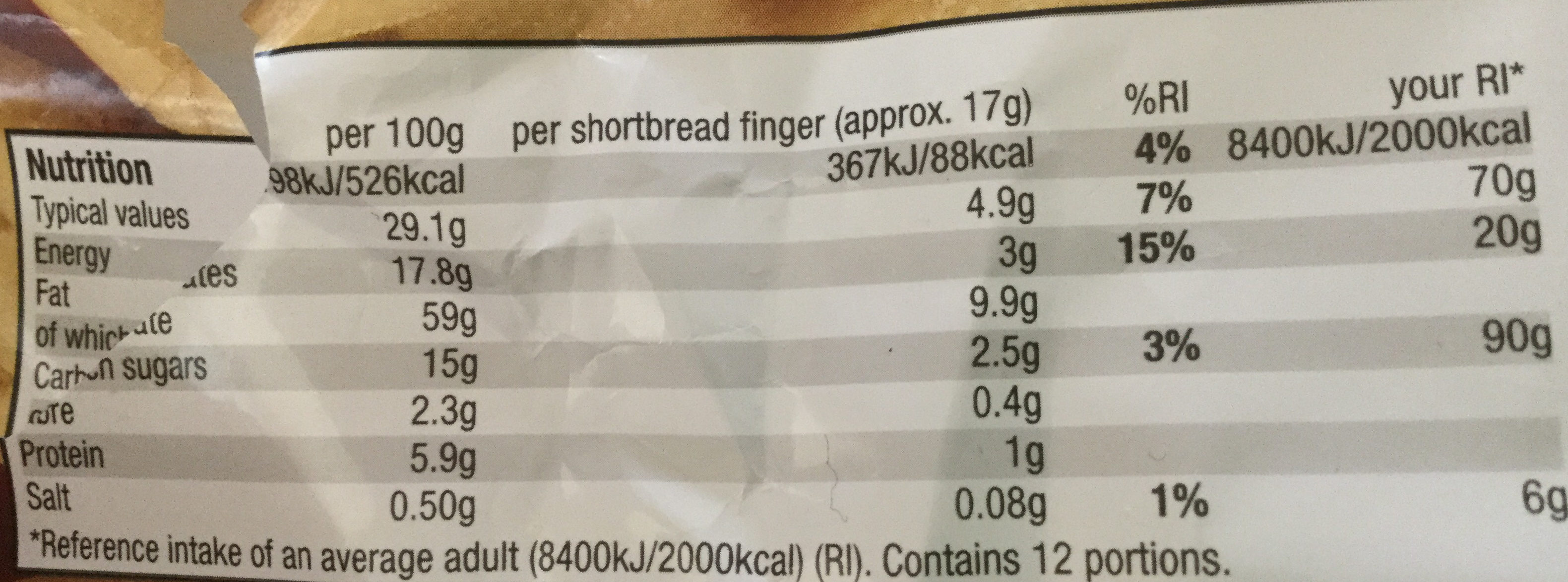 All Butter Shortbread Fingers - Nutrition facts