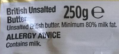 British unsalted butter - Ingredients - en