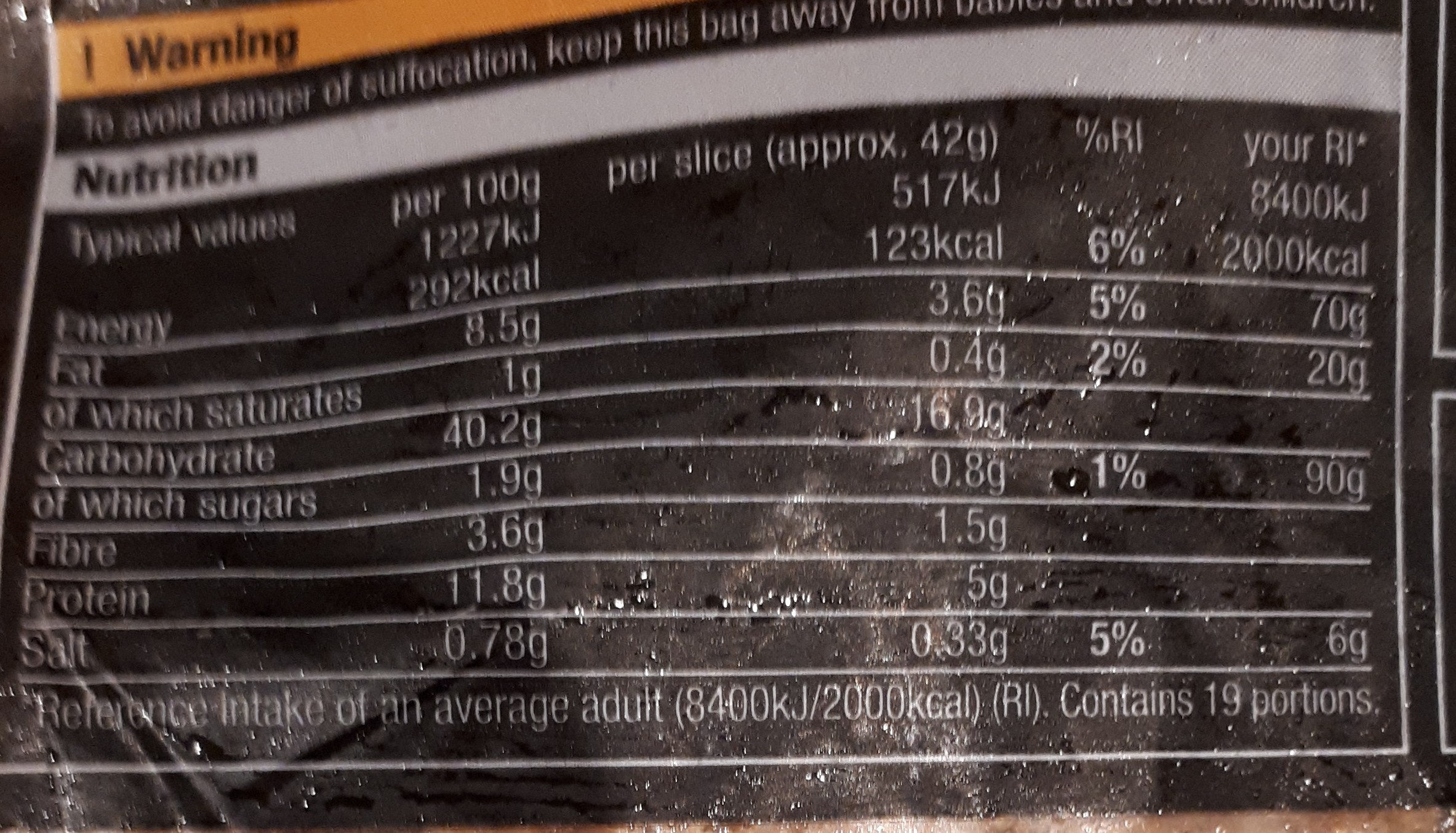 thick cut sunflower and pumpkin seed loaf - Nutrition facts - en