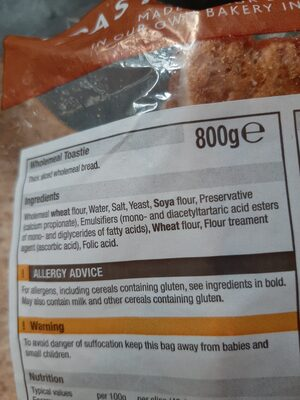 Toastie wholemeal - Ingredients