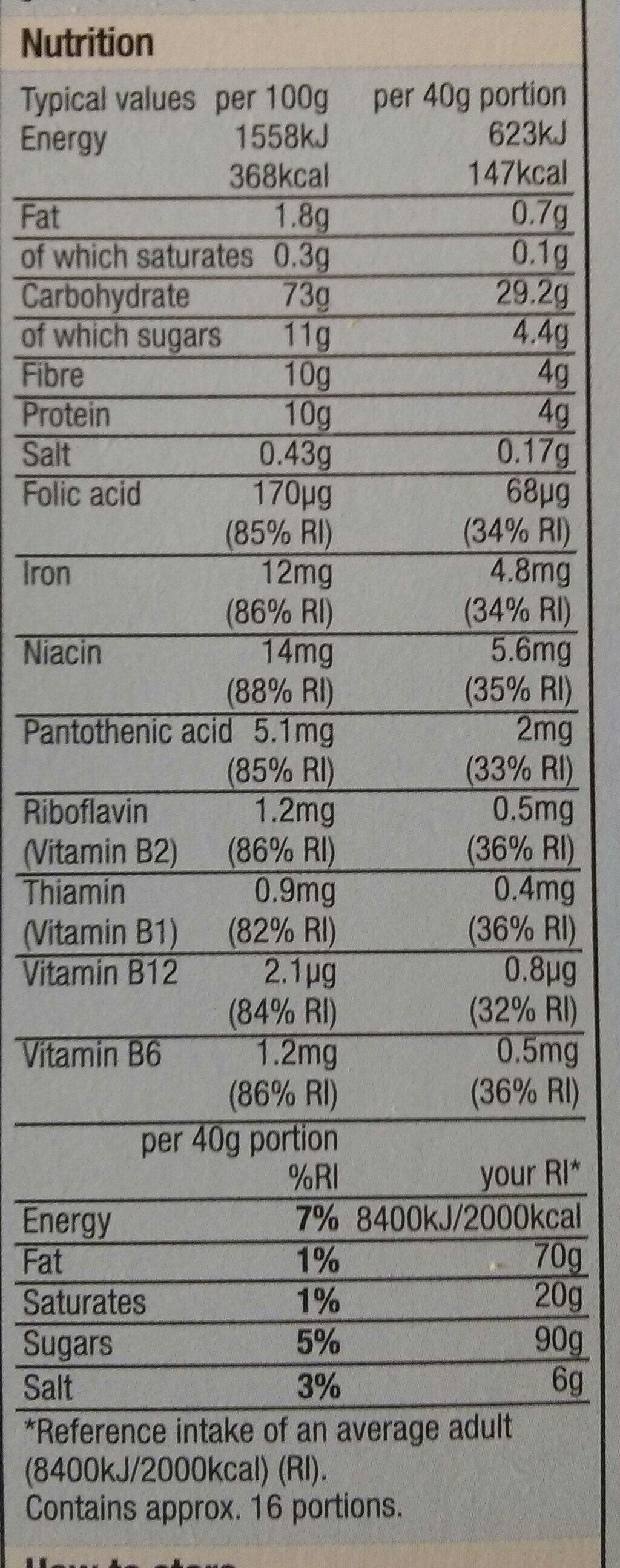 Migty Malties - Nutrition facts