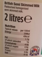 British semi skimmed milk - Valori nutrizionali - en