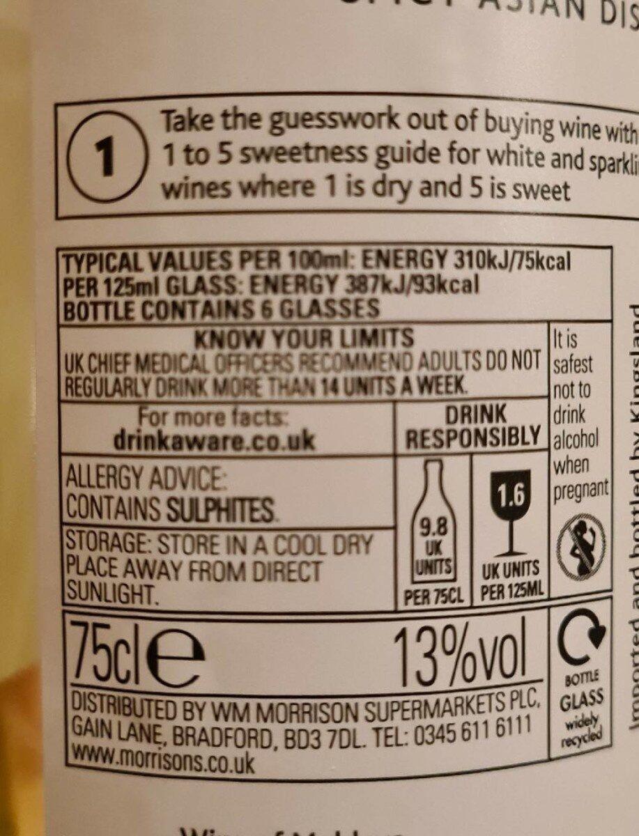 Pinot Grigio - Valori nutrizionali - en