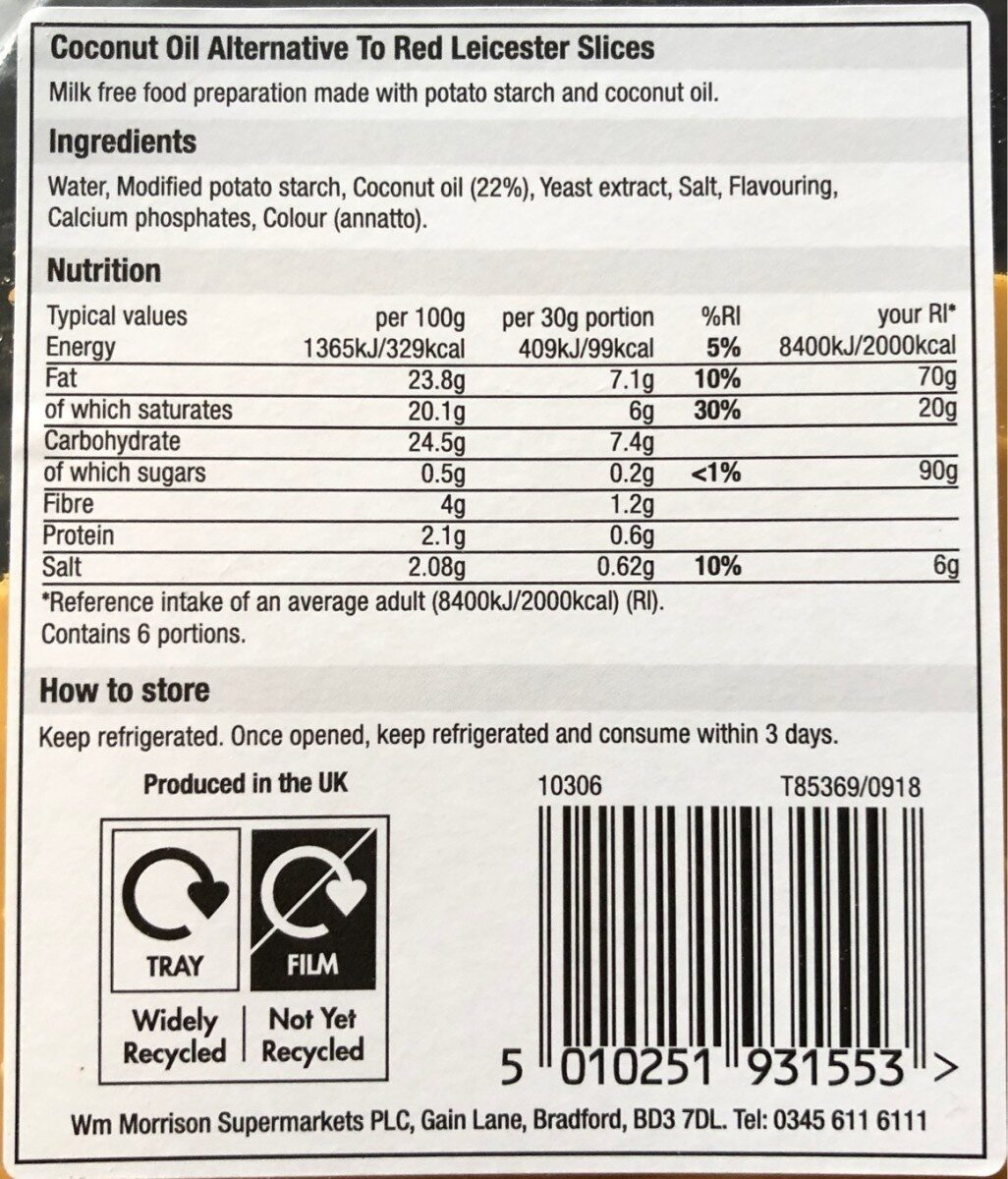 Taste - coconut oil alternative to red leicester slices - Nutrition facts