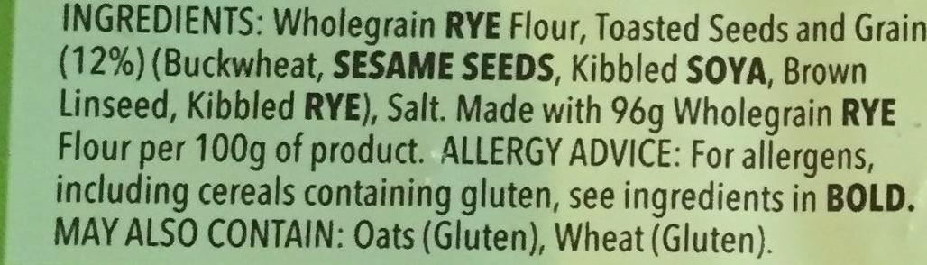 Multigrain Crispbread - Ingredients