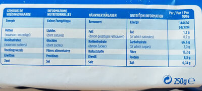 Tartines croustillantes Seigle complet - Nutrition facts - fr