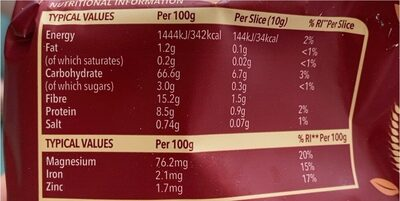 Dark Rye Crunchy Rye Breads - Nutrition facts