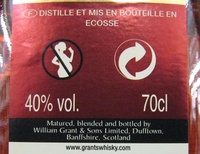 Grant's blended scotch wisky the family reserve 70 cl since 1887 - Nutrition facts - fr